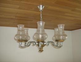 Wohnzimmerlampe mit 6 Leuchten zum Teil aus Zinn , Holz und Glas  massiv