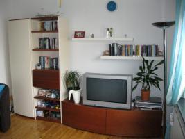 Wohnzimmerschrankwand beige-braun Massiv