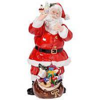 Wundersch�ne Dekorationsfigur Weihnachtsmann Geschenksack aus Porzellan