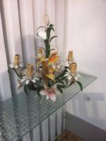 Wunderschöne alte Blech Hängelampe mit Blechblumen