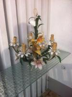Foto 2 Wunderschöne alte Blech Hängelampe mit Blechblumen