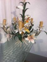 Foto 3 Wunderschöne alte Blech Hängelampe mit Blechblumen
