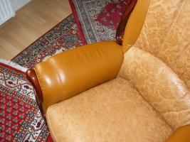 Foto 7 Wundersch�ne, gem�tliche Couchgarnitur Leder/Holz
