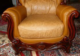 Foto 9 Wundersch�ne, gem�tliche Couchgarnitur Leder/Holz