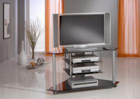 Wunderschöner Glas TV Ecktisch in schwarz mit Facettenschliff