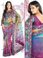 Wunderschönes Bollywood Embroidered net Sari inkl.Unterrockstoff