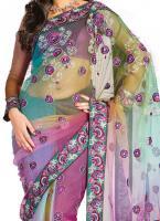 Foto 2 Wunderschönes Net Embroidered Saree inkl.Unterrockstoff