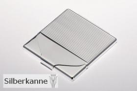 Zigarettenetui Streifen 9x9 cm versilbert / SILBER plated