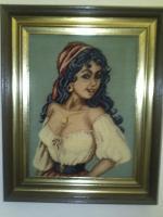 Zigeunermädchen - Carmen Gobelinbild im hochwertigem Gemälderahmen
