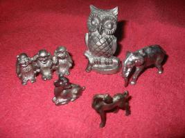 Foto 2 Zinntiere aus reinem Zinn. Deko, Zinndeko, Zinnfiguren, Zinnsachen, Kamindeko