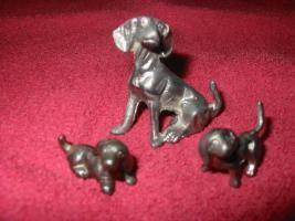 Foto 3 Zinntiere aus reinem Zinn. Deko, Zinndeko, Zinnfiguren, Zinnsachen, Kamindeko