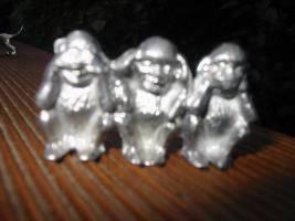 Foto 6 Zinntiere aus reinem Zinn. Deko, Zinndeko, Zinnfiguren, Zinnsachen, Kamindeko