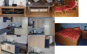 Zu Verkaufen! Küche, Doppelbett aus Holz mit viel Stauraum inkl. 2 Nachttische (Kiefer gelaugt), Wohnzimmertisch, Fernsehschrank, Ikeasessel ''Poäng'' in rot mit Fußauflage.