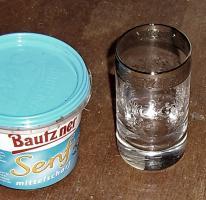 Foto 8 altes kleines glas mit platin rand