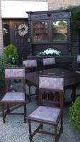 antik esszimmer schrank und tisch mit 6 stüle