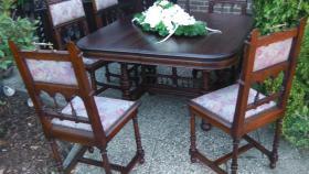 Foto 4 antik esszimmer schrank und tisch mit 6 stüle