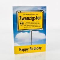 attraktive und stilvolle Glückwunschkarte zum 20. Geburtstag