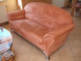 Foto 3 bequeme Couchgarnitur, 2er, 3er + Sessel mit Chromfüßen zu verkaufen