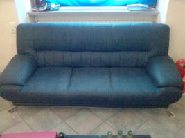 blaue Sofa Garnitur (3er Sofa/2er Sofa/Sessel)