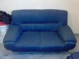 Foto 2 blaue Sofa Garnitur (3er Sofa/2er Sofa/Sessel)