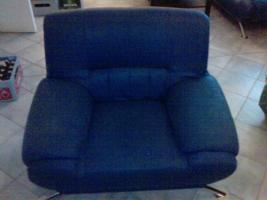 Foto 3 blaue Sofa Garnitur (3er Sofa/2er Sofa/Sessel)