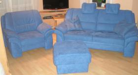 blaue Sofagarnitur, 2 Sitzer, Sessel, Hocker, Belvetara, 3 Jahre alt