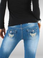 blue Jeans mit Print und Strass