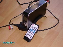 digitaler Multimediaplayer f�r SATA Festplatten mit Fernbedienung