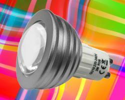 dimmbarer RGB LED Strahler 3W GU10 - Farbwechsel LED Spot