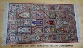 echten, handgekn�pften Seidenteppich mit Zertifikat