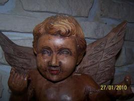 Foto 2 einmalig sehr schöner alter ENGEL um 1600 / 1700 ( gefunden in einem Kloster )