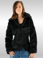 elegante Kunstfelljacke -schwarz-