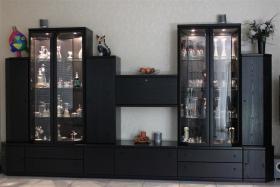exklusive Wohwand und Highboard Hülsta Spektrum Esche schwarz