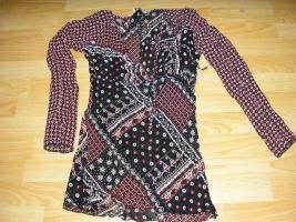 gemusterte leicht transparente Long-Bluse , wenig getragen