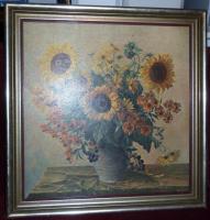 gerahmtes Sonnenblumenbild, Goldrahmen