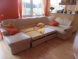 große, gemütliche Leder Couch Eck Leder Garitur