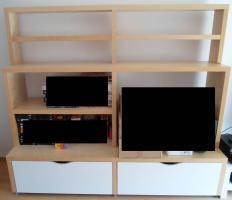 großes stabiles IKEA-TV-Regal mit 2 großen Schubladen