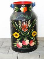 Foto 2 handbemalte Milchkanne, Bauern Kanne, Dekoration, Gemälde