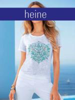 heine - Shirt weiß mit Druck und Strass Gr. 38 - OVP - NEU