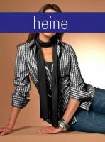 heine - Vichy-Bluse, Top und Schal schwarz-weiß Gr. 40 - OVP - NEU