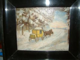 kl Bild : Postkutsche in winterlicher Landschaft