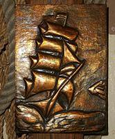 kupfer relief bild segelschiff