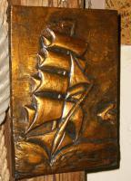 Foto 2 kupfer relief bild segelschiff