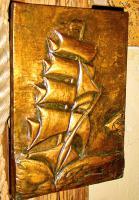 Foto 3 kupfer relief bild segelschiff
