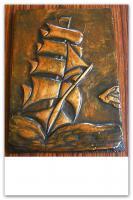 Foto 6 kupfer relief bild segelschiff