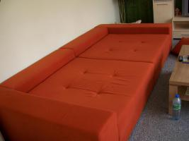 moderne riesengroße Wohnlandschaft Microfaser Polstergarnitur 3,00 x 1,50 Orange