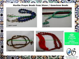 Foto 5 muslimischen Gebetskette aus verschiedenen Holz und Stein