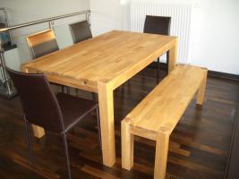 Foto 2 neuwertige Esszimmermöbel-Tisch, Ansteckplatten, Sitzbank,4 Stühle
