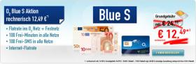 o2 Blue S Aktion Anstatt 24,99 nur 12,49 € monatlich durch Erstattung incl. Flat o2 & ins Festnetz, 100FreiMin+100FreiSMS monatl. u. Internetflat, SIM-Karte only