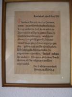 orig. Kriegsspruch Hermann Göring 1938 Handgeschrieben…